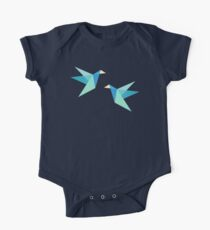 Orange Paper Cranes Short Sleeve Baby One-Piece