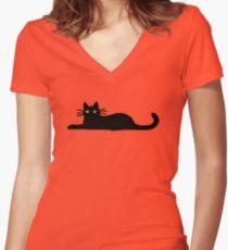 Black Cat Women's Fitted V-Neck T-Shirt