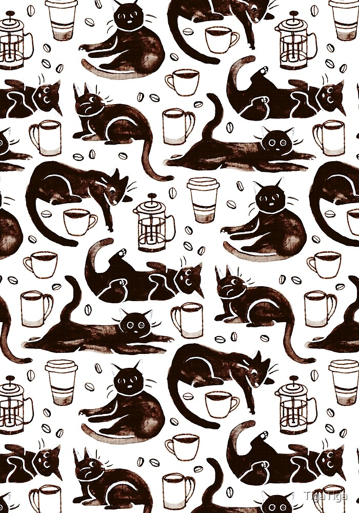Gouache Black Cats & Coffee by TigaTiga