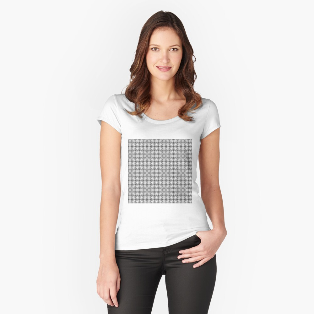black white and gray hexagons many stars Women's Fitted Scoop T-Shirt Front
