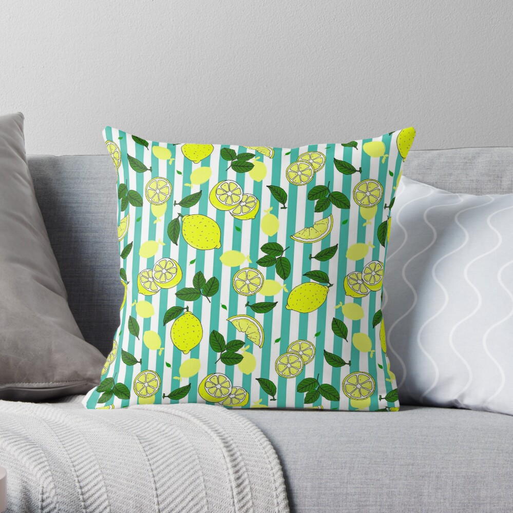 Pretty Summer Lemons on Teal Blue Stripes Pattern Throw Pillow