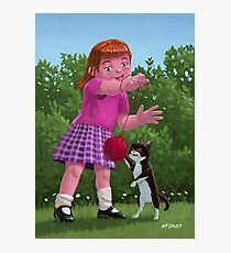 cat and girl playing Photographic Print