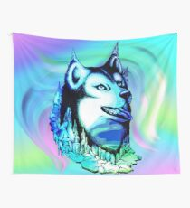Husky Aurora Borealis Dream Wall Tapestry