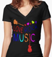 LOVE ROCK MUSIC  Women's Fitted V-Neck T-Shirt