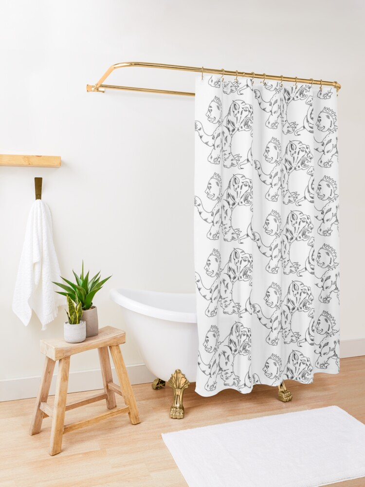 Alternate view of a dragon dog, a snake, and the face of a woman Shower Curtain