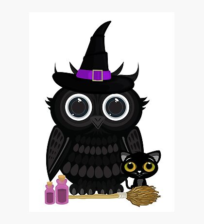 Black Owl Witch Photographic Print