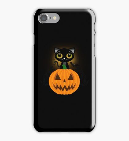 Black Kitten & Jack O Lantern iPhone Case/Skin
