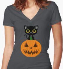 Black Kitten & Jack O Lantern Women's Fitted V-Neck T-Shirt
