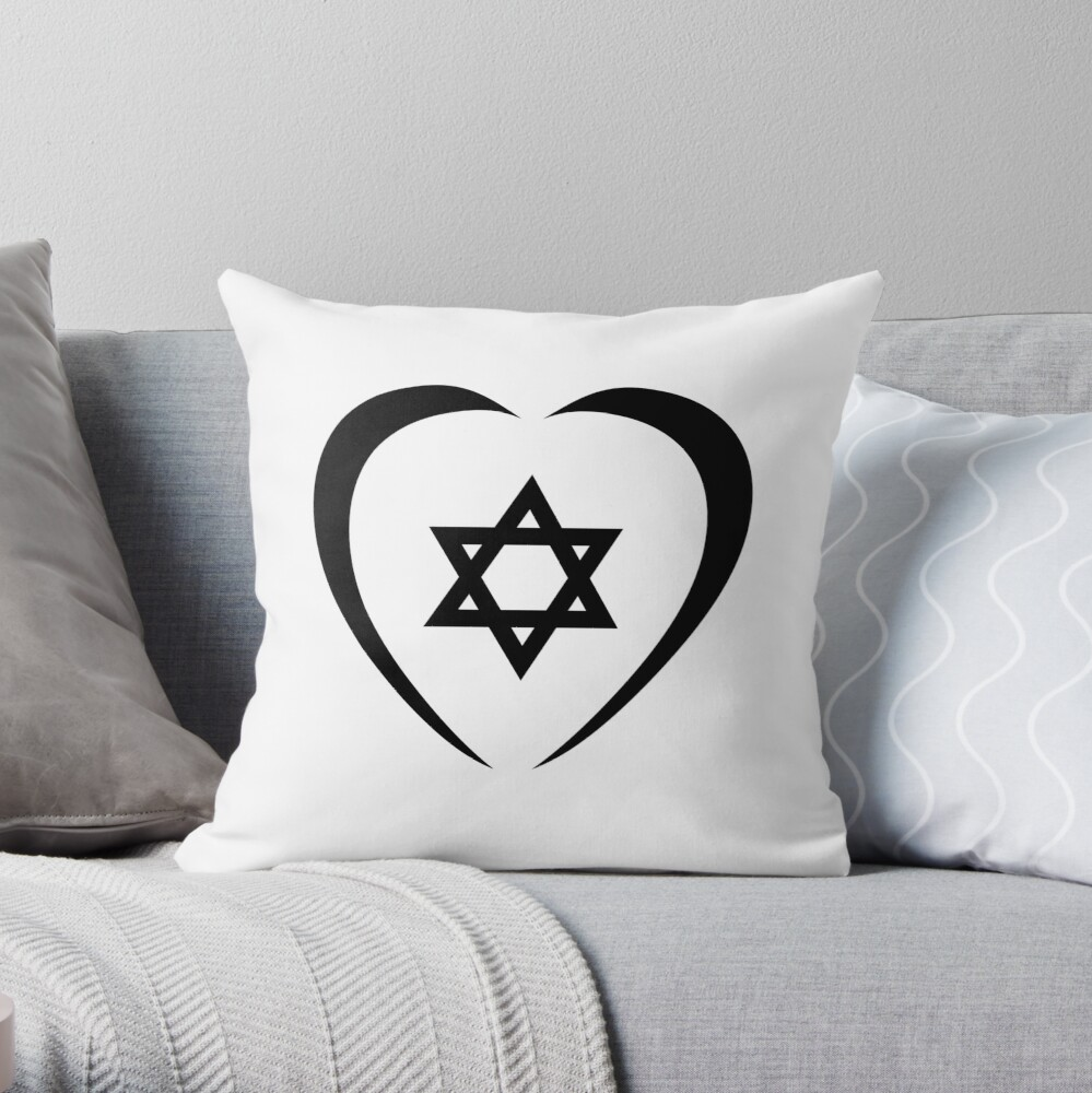 Jewish Heart Third Culture Series (Black)  Throw Pillow