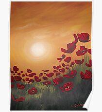 Red Poppy Field Sunset Poster