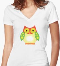 Star Owl - Red Yellow Green Women's Fitted V-Neck T-Shirt
