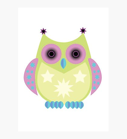 Star Owl - Green Purple Blue Photographic Print