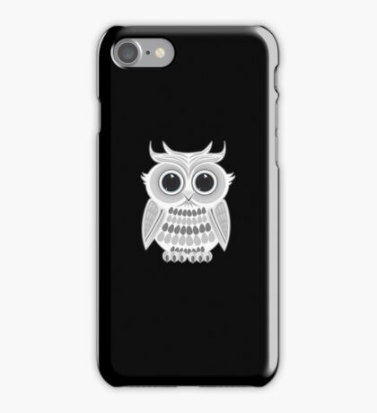 White Owl - Black iPhone Case/Skin