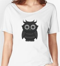 Black Owl - White Women's Relaxed Fit T-Shirt