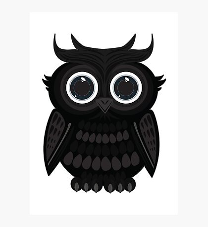 Black Owl - White Photographic Print