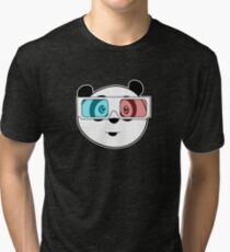Panda - 3D Glasses (Black) Tri-blend T-Shirt