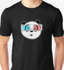 Panda - 3D Glasses (Black) Unisex T-Shirt