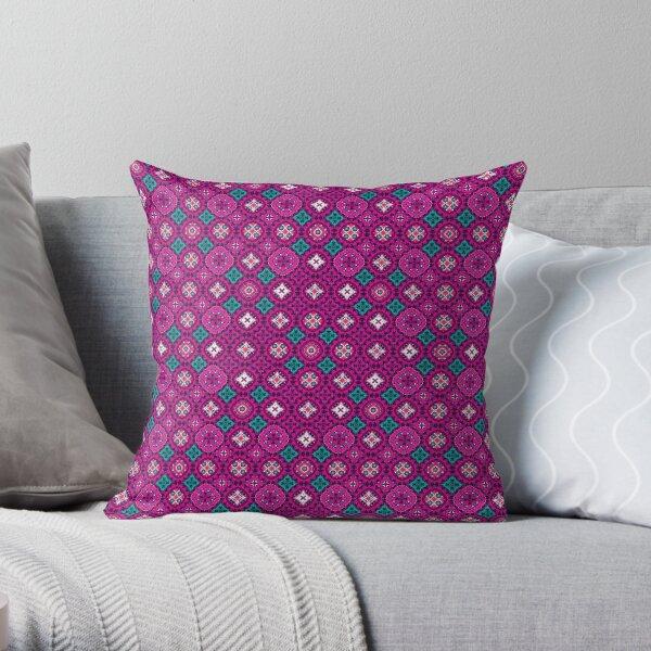 Floral TicTacToe - Deep Pink Throw Pillow