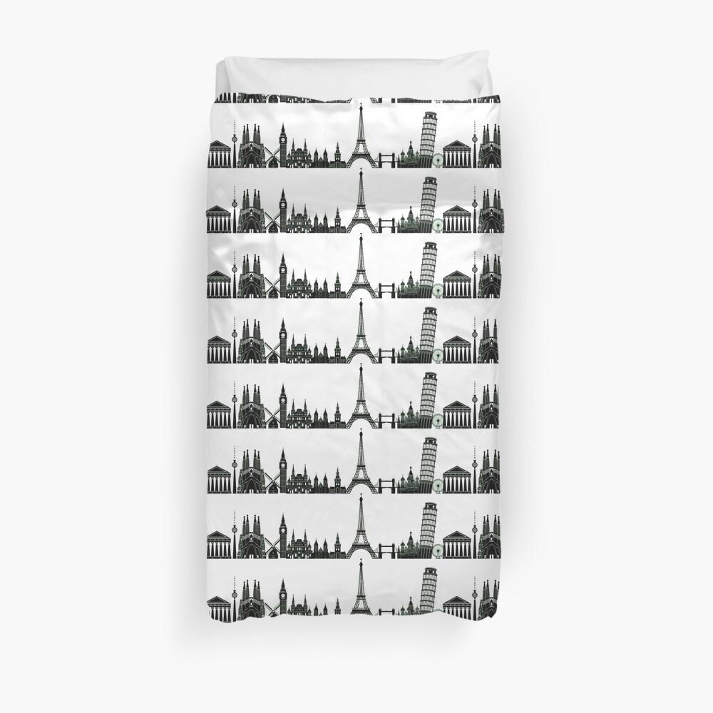 Black Europe Skyline Duvet Cover