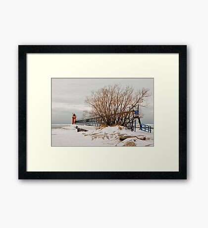 South Haven pier on a cold, calm winter day Framed Print