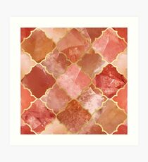 Rose Quartz & Gold Moroccan Tile Pattern Art Print