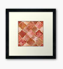 Rose Quartz & Gold Moroccan Tile Pattern Framed Print