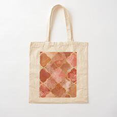 Rose Quartz & Gold Moroccan Tile Pattern Cotton Tote Bag
