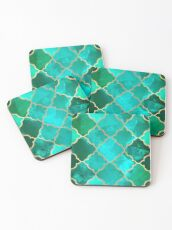Green Quartz & Gold Moroccan Tile Pattern Coasters