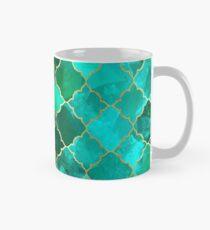 Green Quartz & Gold Moroccan Tile Pattern Classic Mug