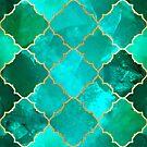 Green Quartz & Gold Moroccan Tile Pattern by tanyadraws