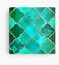 Green Quartz & Gold Moroccan Tile Pattern Metal Print