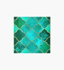 Green Quartz & Gold Moroccan Tile Pattern Art Board Print