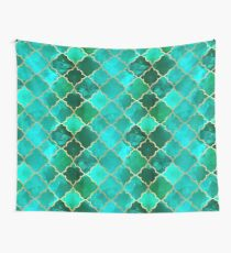 Green Quartz & Gold Moroccan Tile Pattern Wall Tapestry