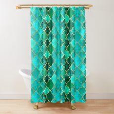 Green Quartz & Gold Moroccan Tile Pattern Shower Curtain