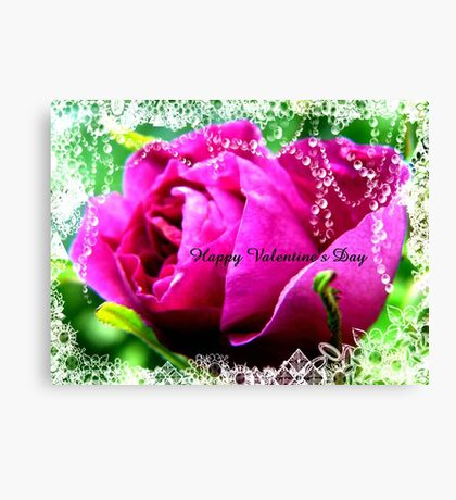 Roses and Jewels,Valentine card Canvas Print