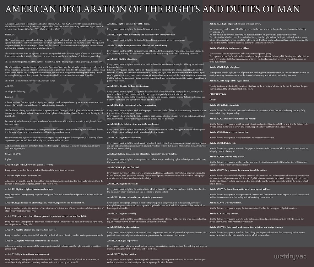 American Declaration of the Rights and Duties of Man Black Background and US Flag by wetdryvac