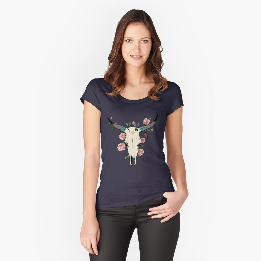 Desert Skull Women's Fitted Scoop T-Shirt Front