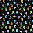 Halloween characters making funny faces in a cool pattern design by Zoo-co