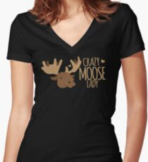 Crazy Moose Lady Women's Fitted V-Neck T-Shirt