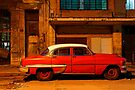 Classic Red American car at Dawn, Havana, Cuba by David Carton