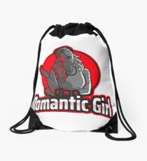 Romantic girl tattooed Drawstring Bag