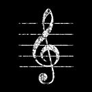 G-Clef, Treble Clef with Lines Vintage White by theshirtshops