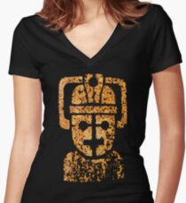 Rusting Cyberman Logo Women's Fitted V-Neck T-Shirt