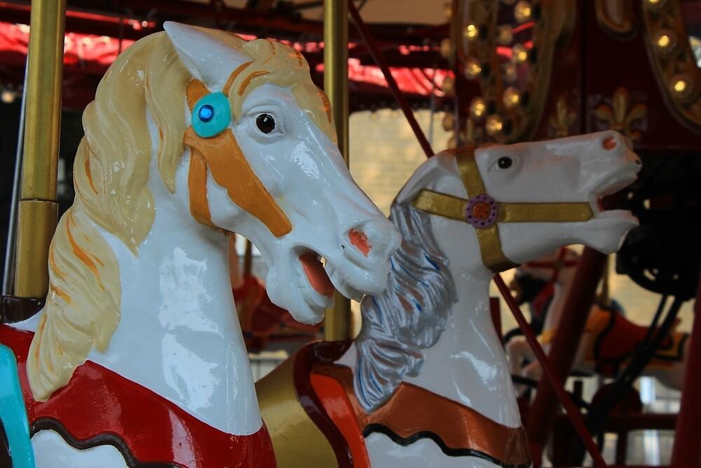Carousel Horses at a Fair by rhamm