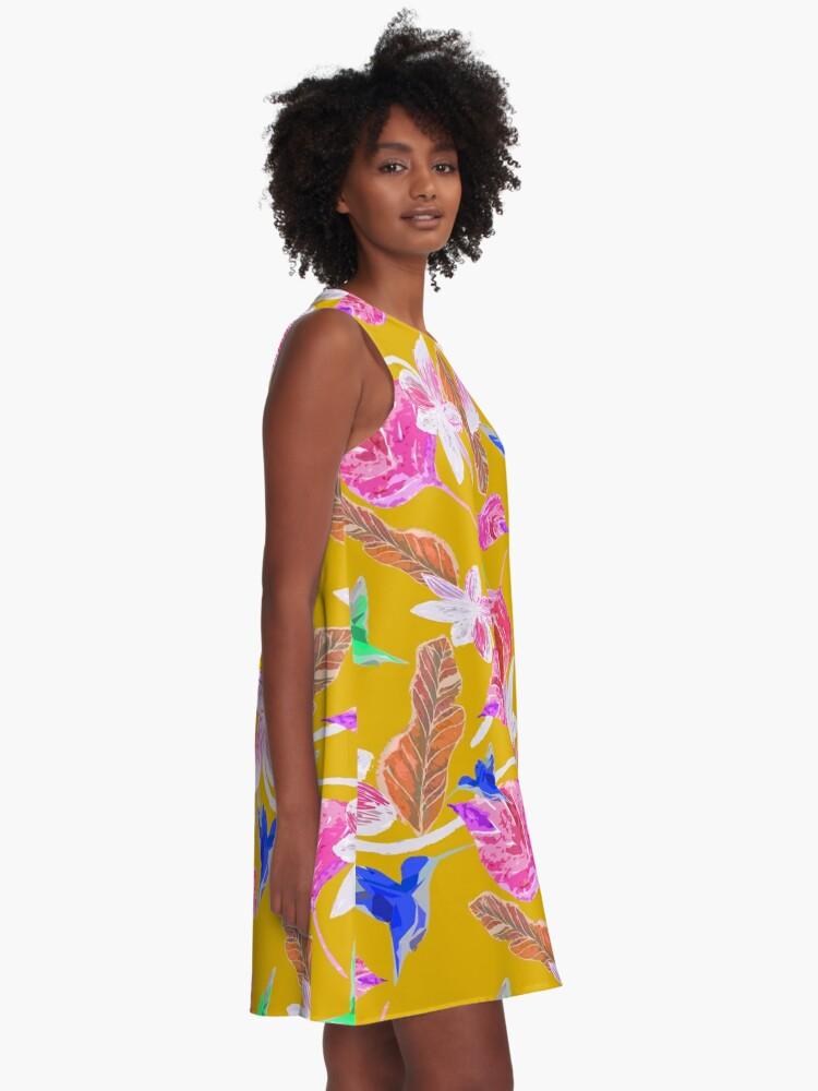 Alternative Ansicht von Kolibri und botanic A-Linien Kleid