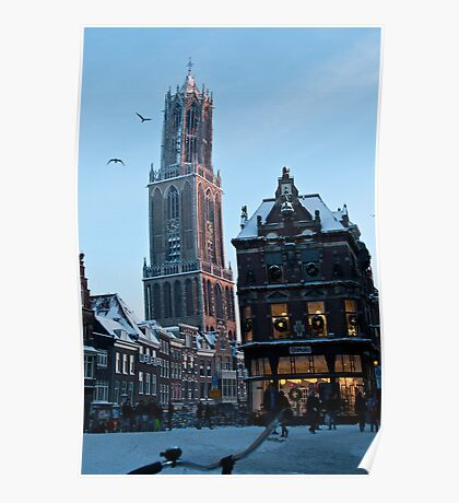 Winter in Holland - Dom Tower Utrecht Poster