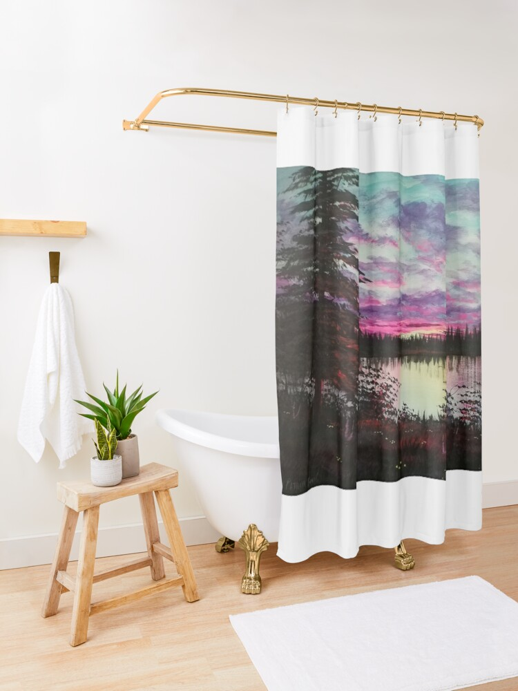 Alternate view of sunset  Shower Curtain