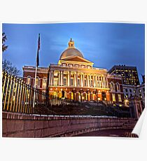 Massachusetts State House - After Dark Poster