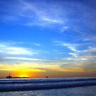Blue Sea and Sky - Huntington Beach CA by Aurora Vaz