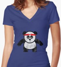PANDA ACTION Women's Fitted V-Neck T-Shirt